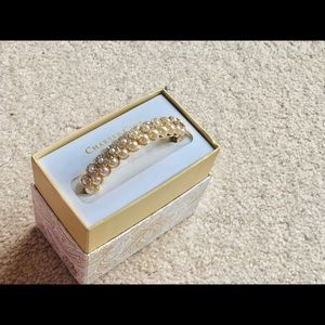 Fancy gold pearl bracelet